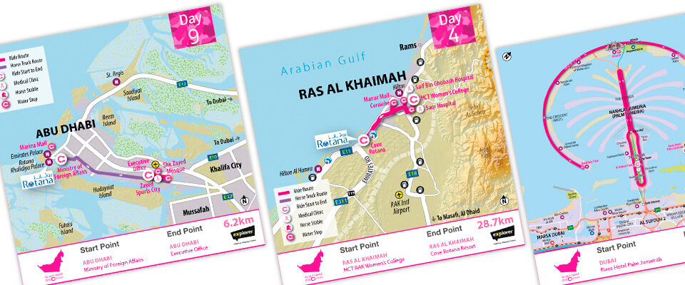Pink Caravan event route map and shareable graphics