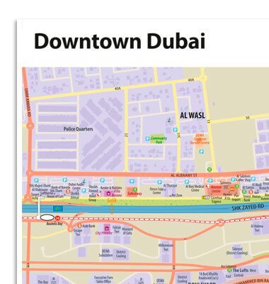 Downtown Dubai Wall Map